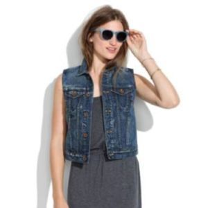 Madewell Denim Vest Button Up Sz Small Blue Crop